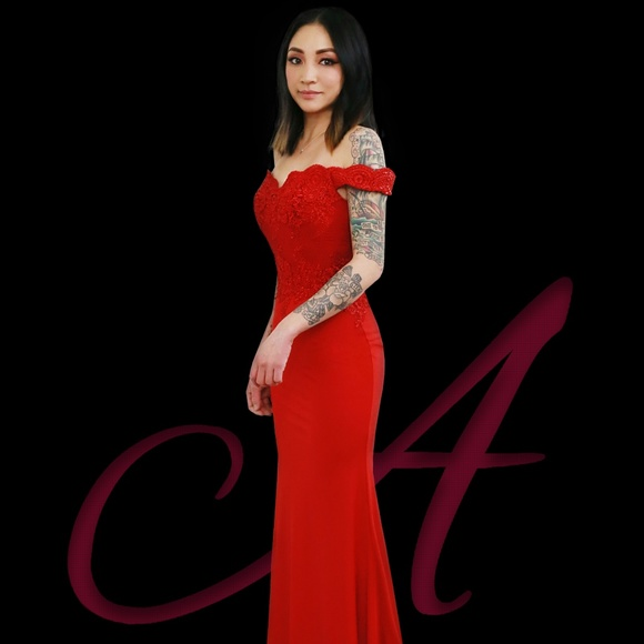 ALENAH COUTURE Dresses | Bridesmaid Prom Valentine Red Evening Gown ...